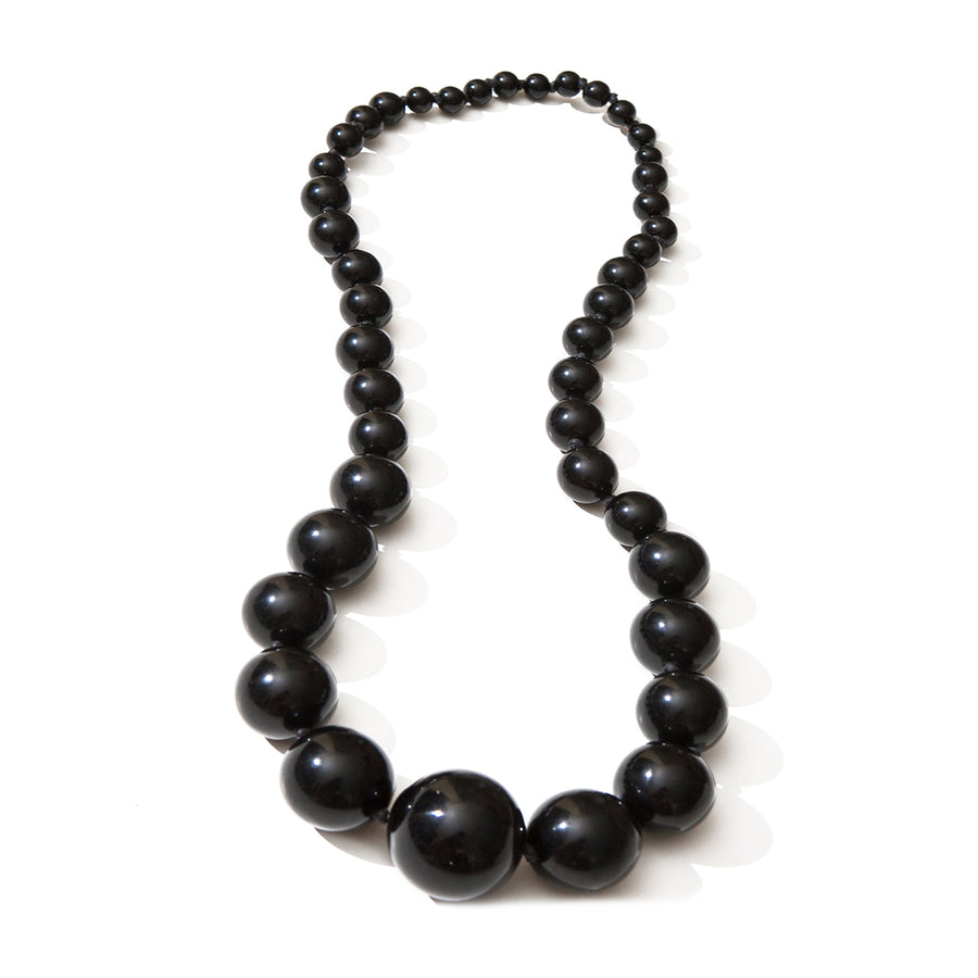 LONG BEADED NECKLACE BLACK