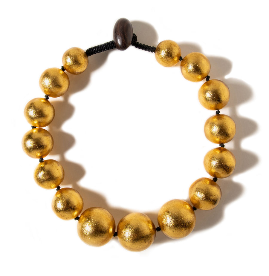 SHORT BEADED GOLD FOIL NECKLACE