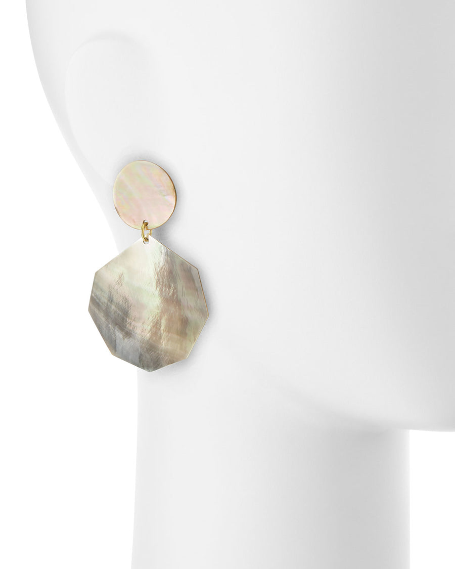 DOUBLE DROP MOTHER-OF-PEARL DANGLE EARRINGS
