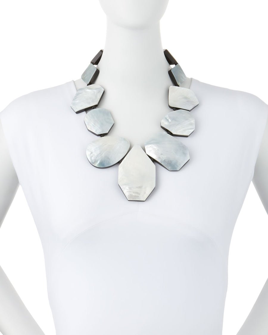 GEOMETRIC STATEMENT MOTHER-OF-PEARL NECKLACE