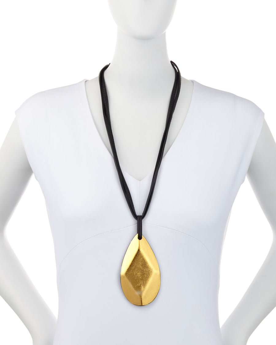FACETED DROP PENDANT ON LEATHER/GOLD FOIL