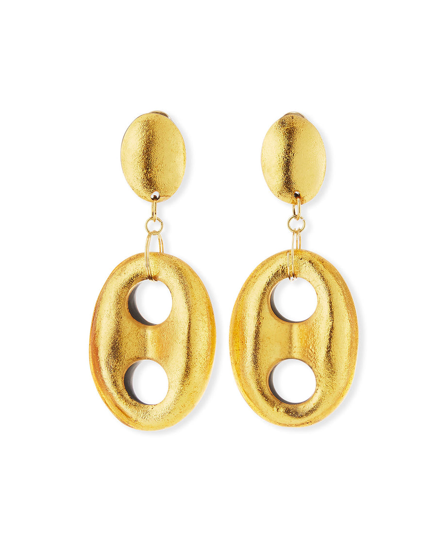 OPEN LINK STATEMENT DANGLE EARRINGS/GOLD FOIL