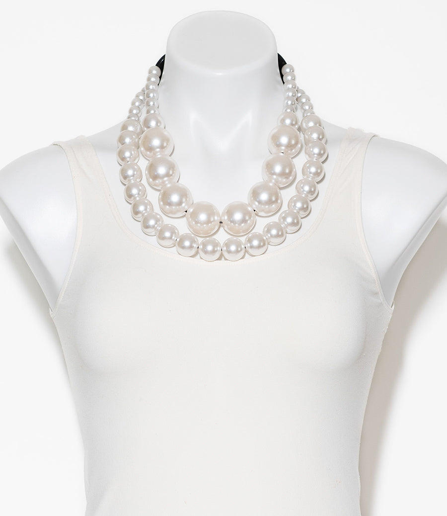 DOUBLE STRAND FAUX PEARL NECKLACE