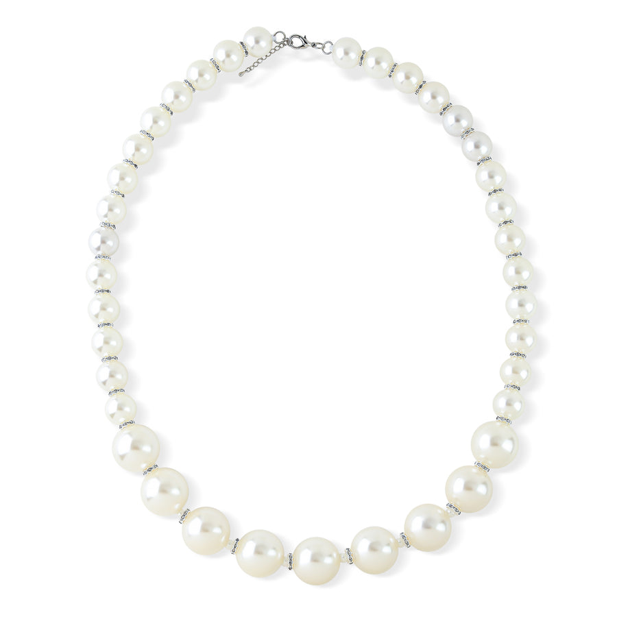 LONG CRYSTAL AND FAUX PEARL SINGLE STRAND NECKLACE. WHITE PEARL, 38