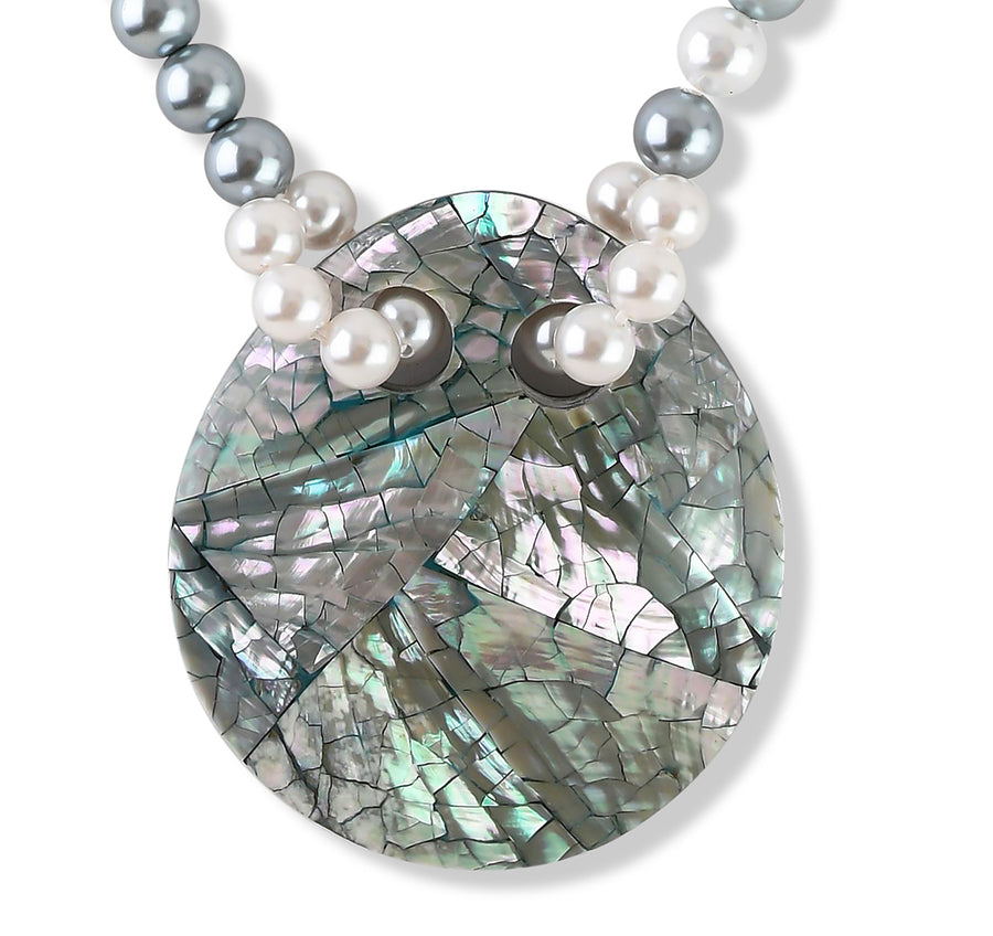FAUX PEARL AND ABALONE STATEMENT PENDANT