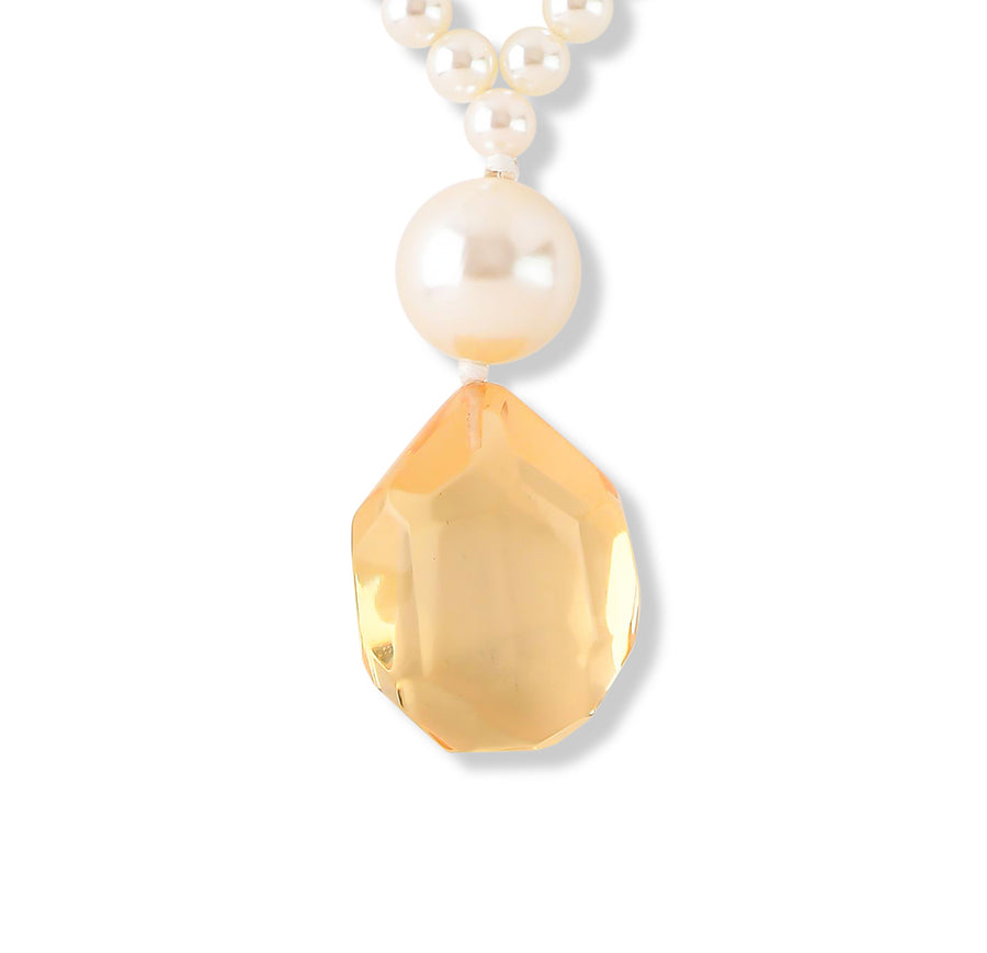 FAUX PEARL AND FACETED CLEAR PENDANT