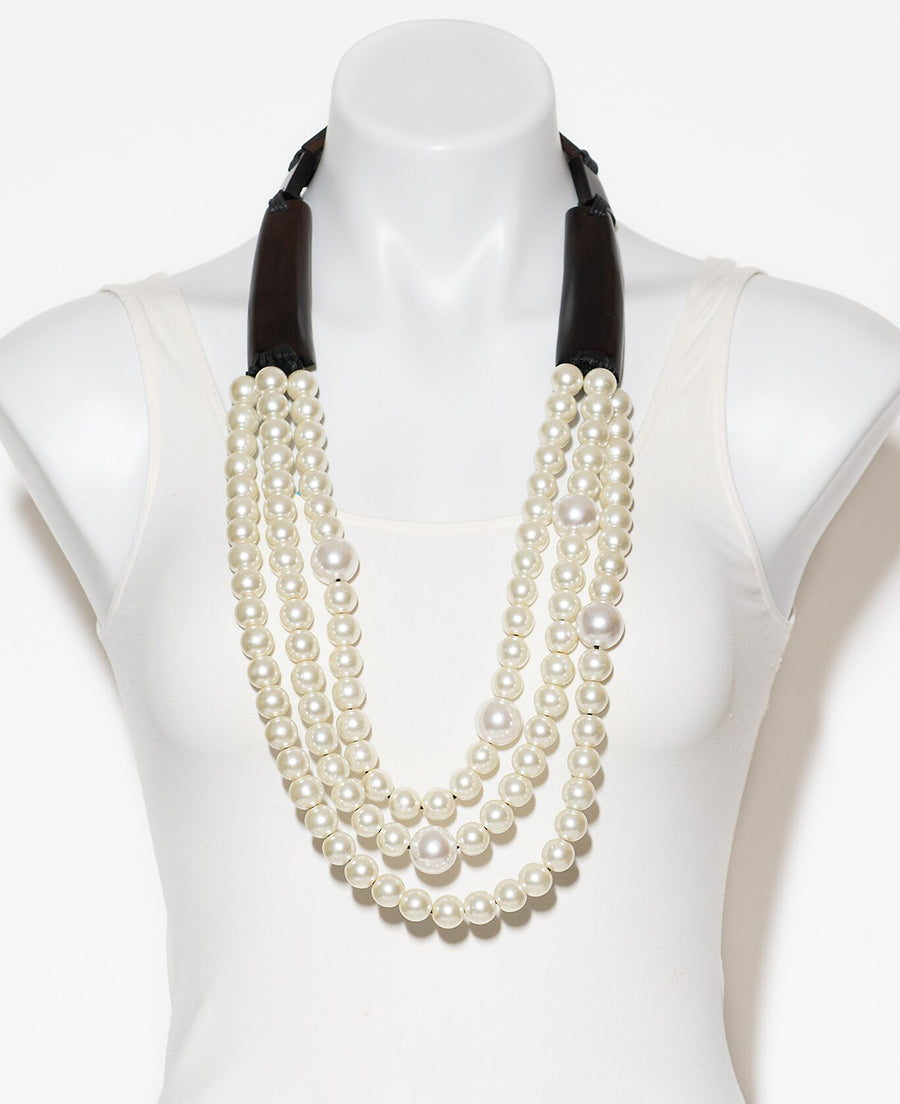 THREE STRAND GLASS PEARL AND WOOD NECKLACE