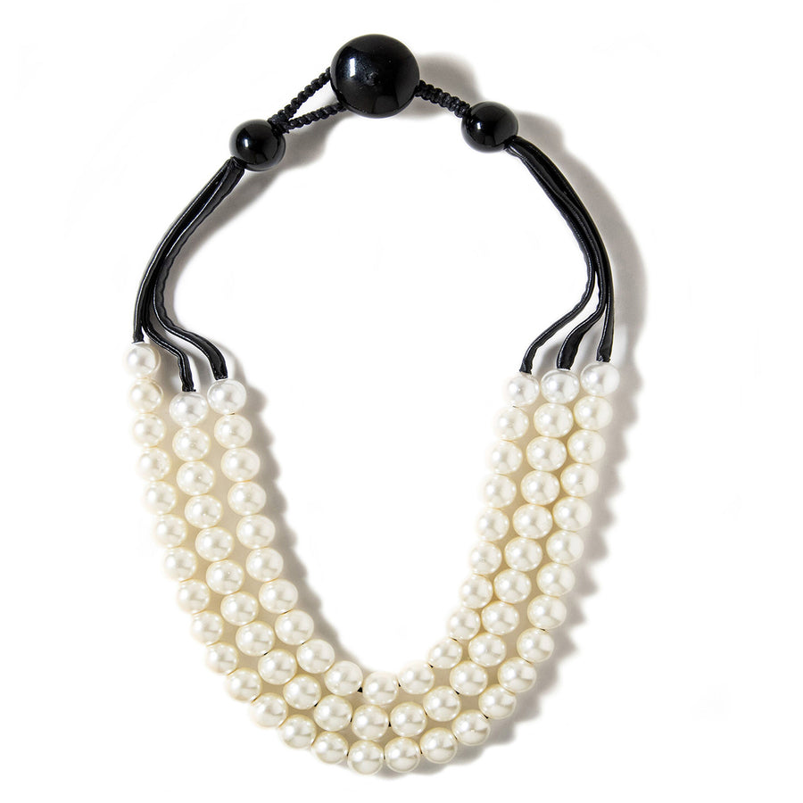 TRIPLE STRAND  FAUX PEARL AND LEATHER NECKLACE