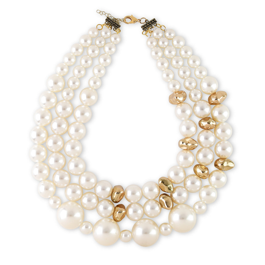 TRIPLE STRAND WHITE FAUX PEARL NECKLACE WITH GOLDEN NUGGET ACCENTS