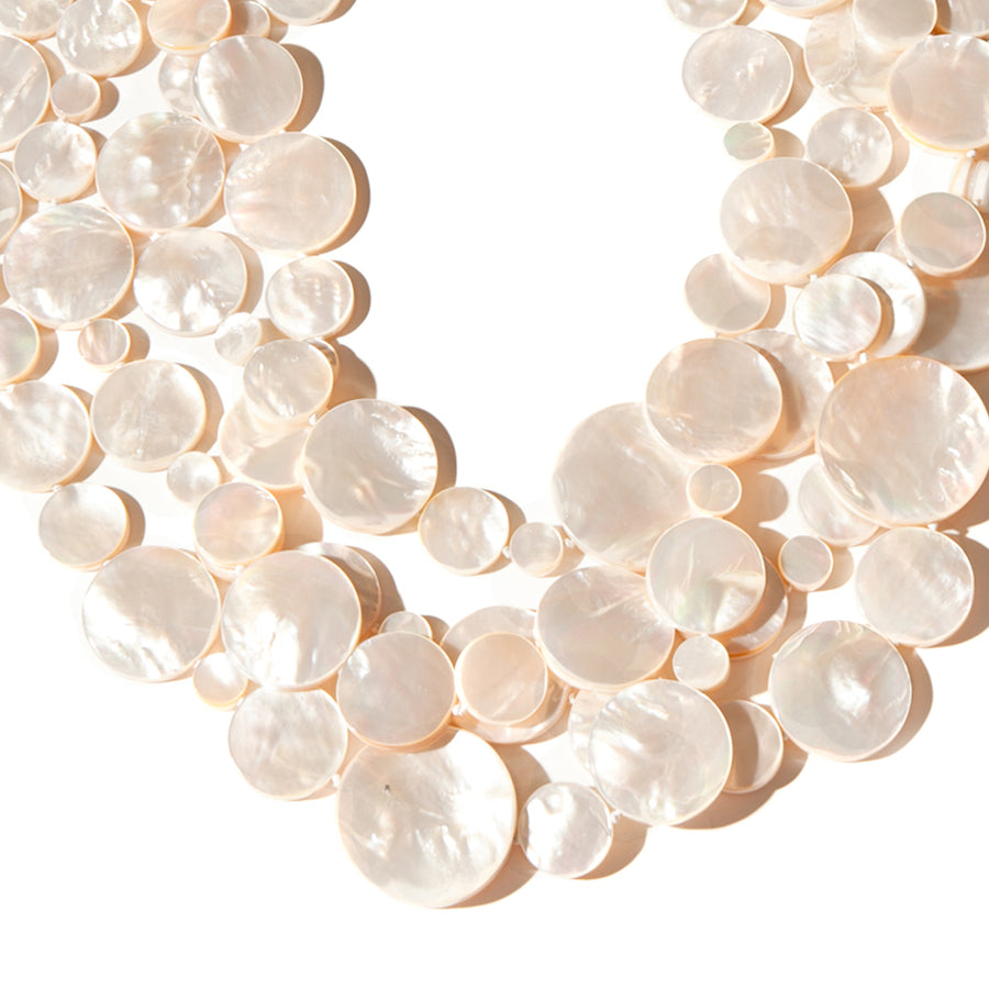 FOUR STRAND WHITE MOP DISC NECKLACE