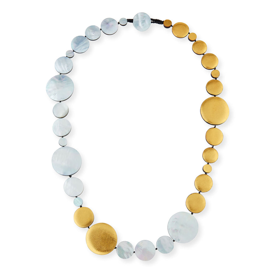 STATEMENT DISC NECKLACE SILVER MOP/GOLD