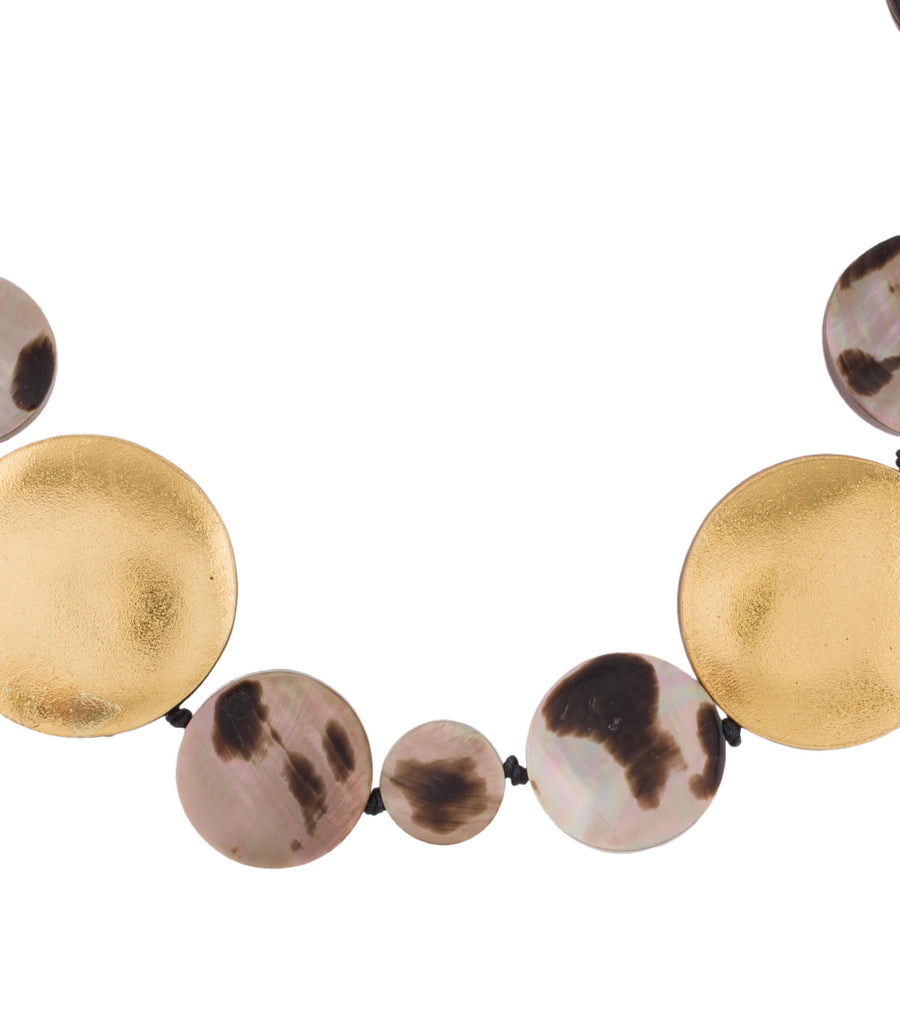 SHORT STRAND DISC LEOPARD AND GOLD FOIL NECKLACE