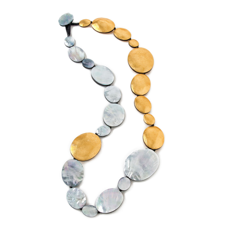 SINGLE OVAL SHAPED STRAND MOP NECKLACE