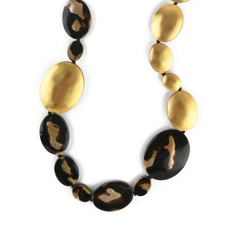 SINGLE OVAL SHAPED STRAND MOP NECKLACE LEOPARD SHELL/GOLD FOIL