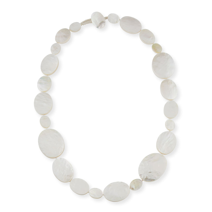SINGLE OVAL SHAPED STRAND MOP NECKLACE WHITE MOP