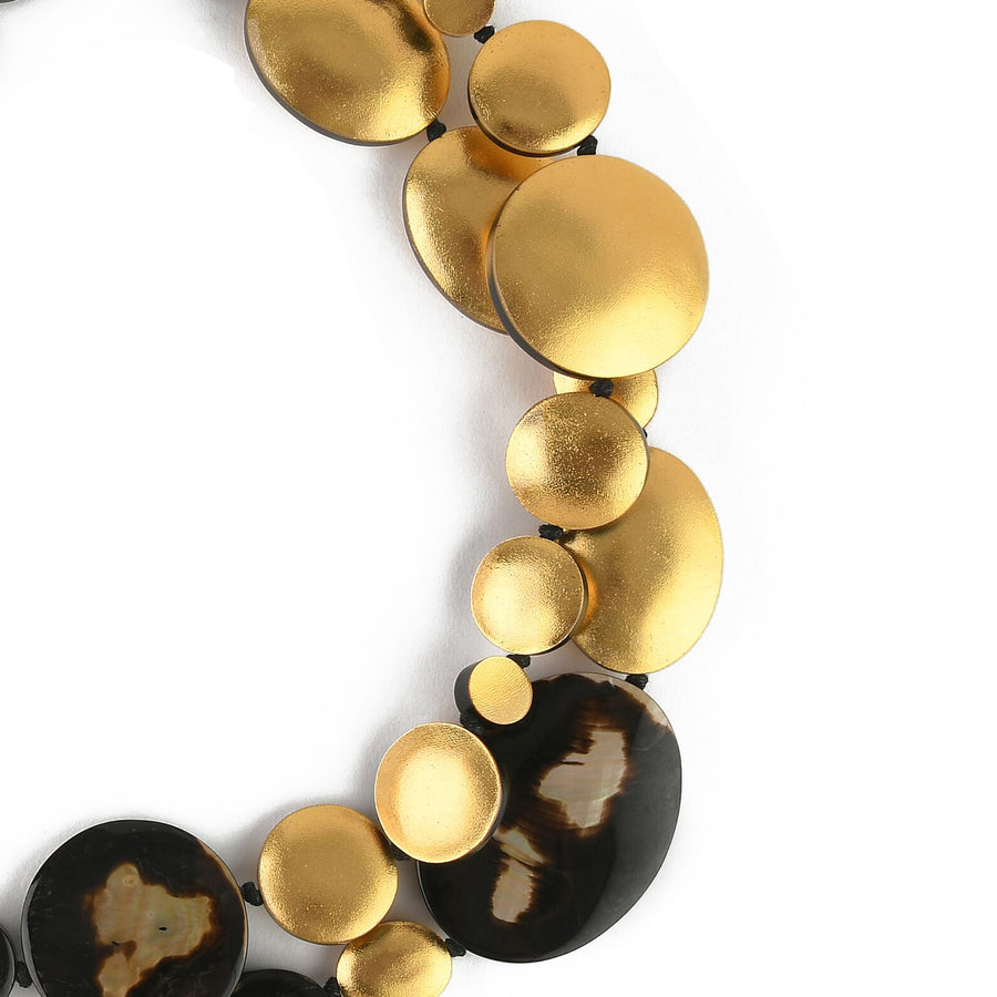 DOUBLE STRAND OVAL AND DISC LEOPARD SHELL/GOLD FOIL NECKLACE LEOPARD SHELL/GOLD FOIL
