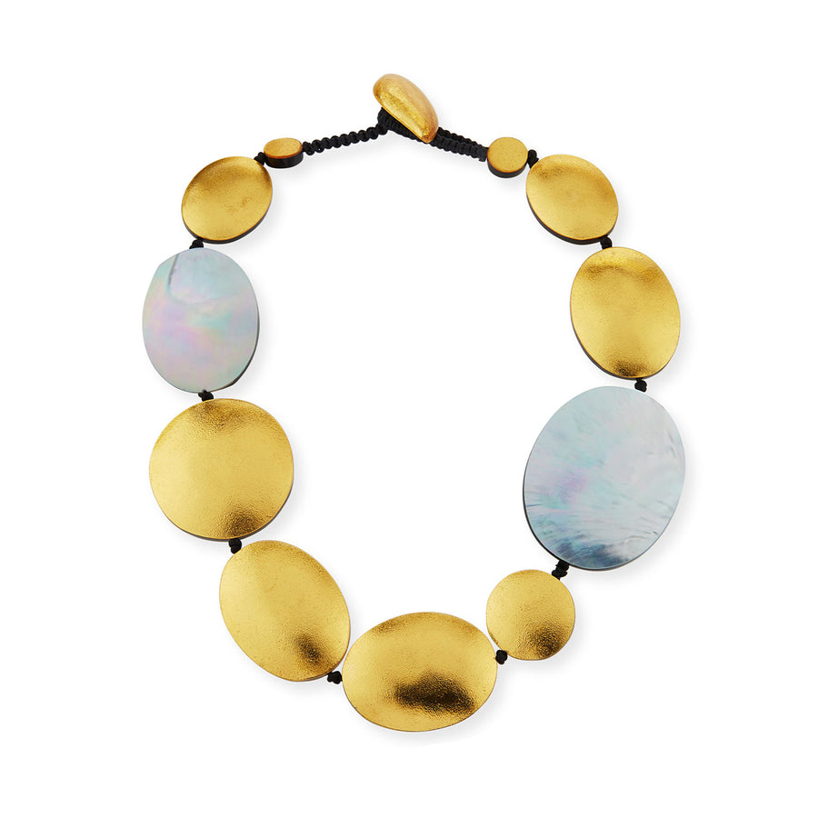 SHORT STRAND OVAL AND DISC SILVER  MOP/GOLD FOIL NECKLACE