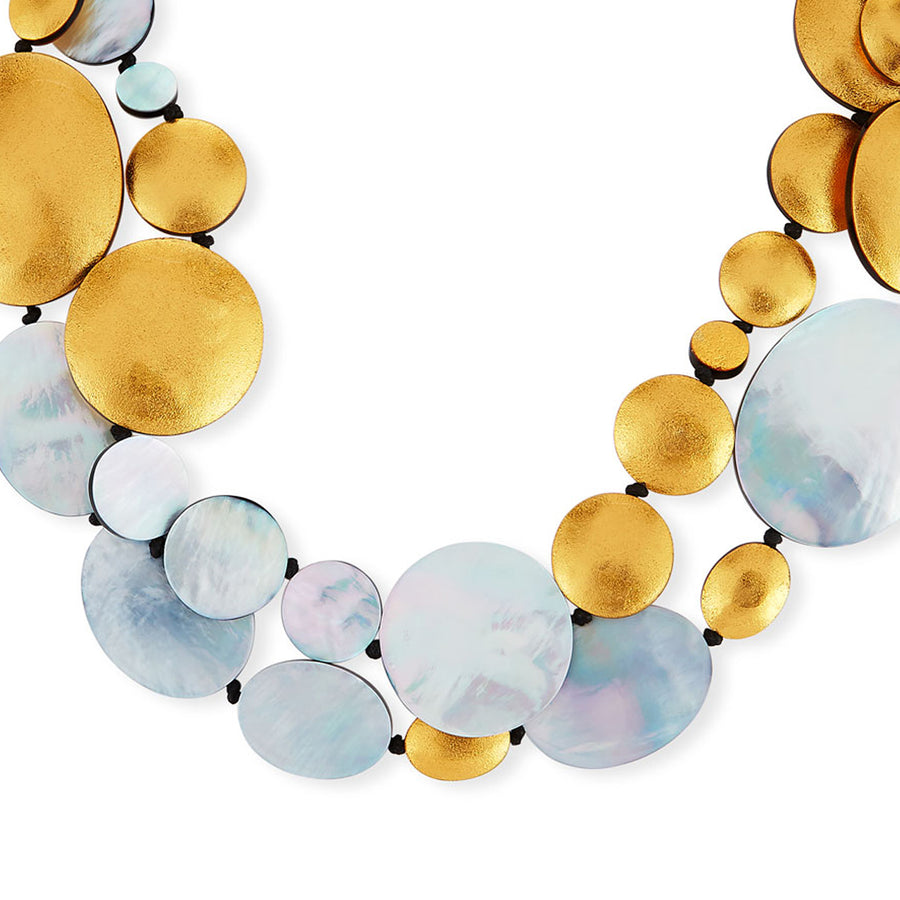 DOUBLE STRAND OVAL AND DISC SILVER MOP SHELL/GOLD FOIL NECKLACE