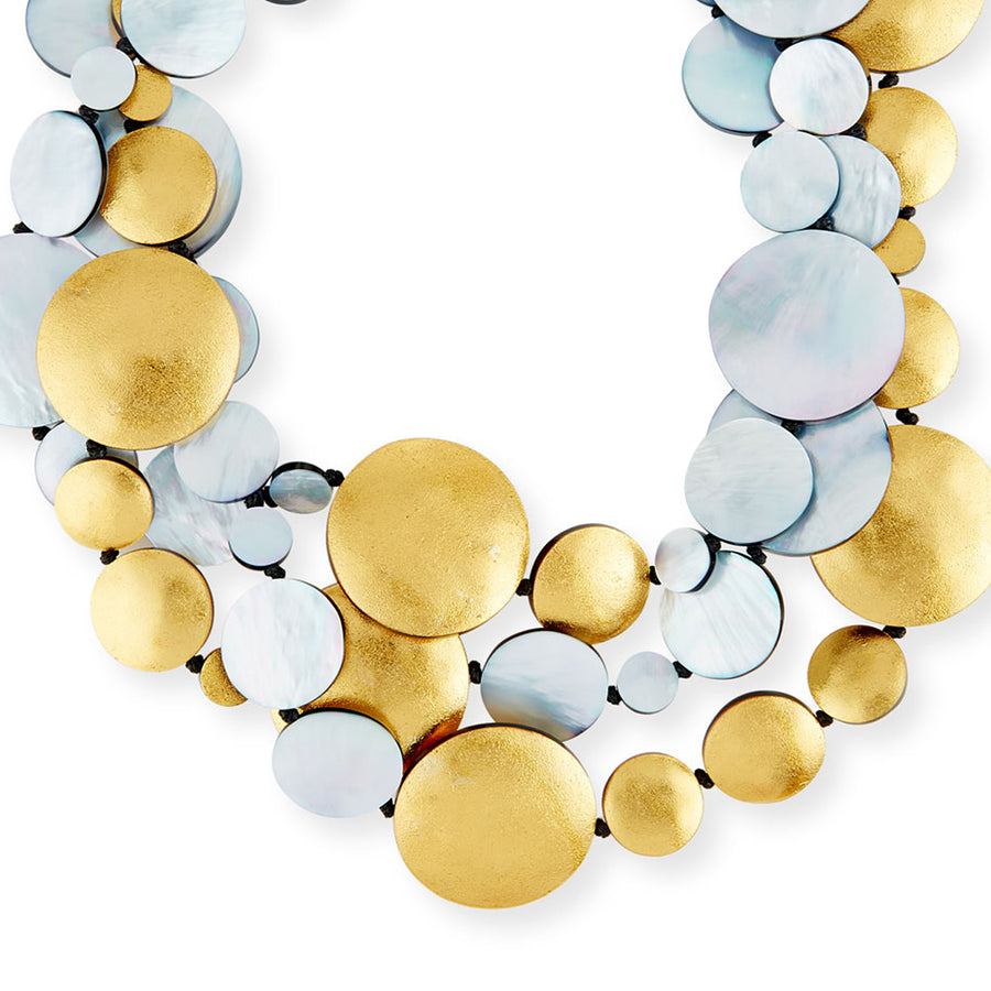 THREE STRAND OVAL AND DISC MOP/GOLD NECKLACE SILVER MOP/GOLD