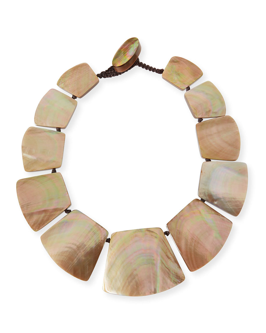 MOTHER-OF-PEARL STATION NECKLACE. BLUSH