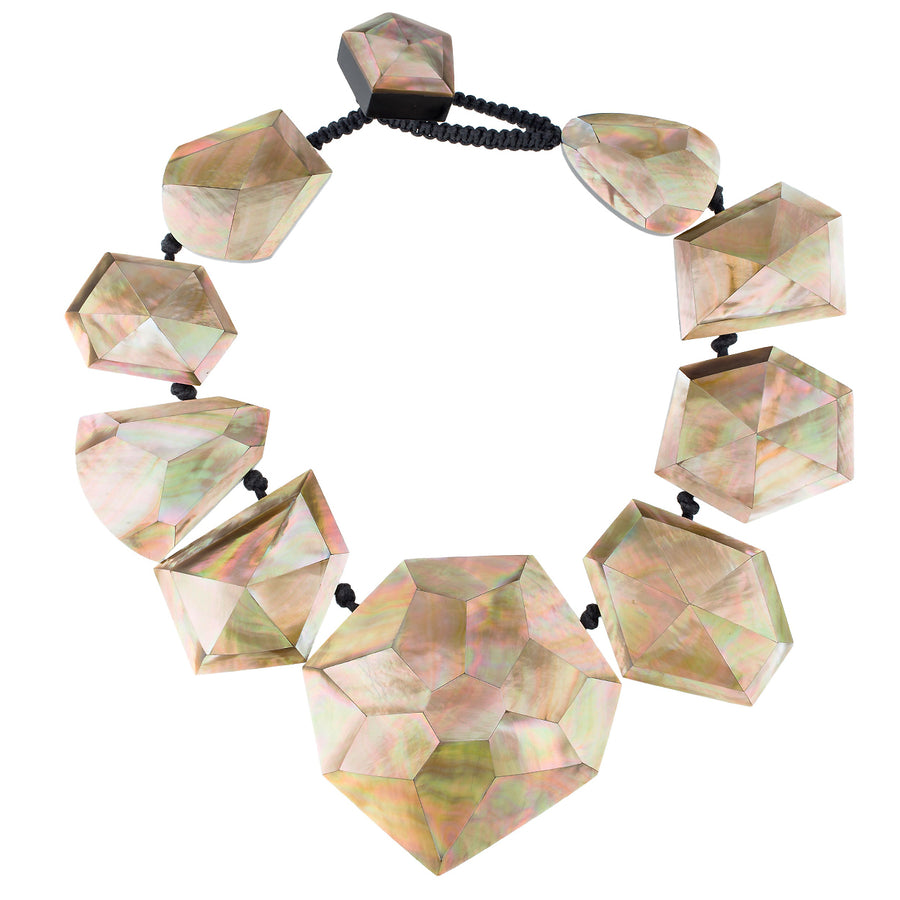 LARGE FACETED MOTHER-OF-PEARL STARDUST NECKLACE. BLUSH