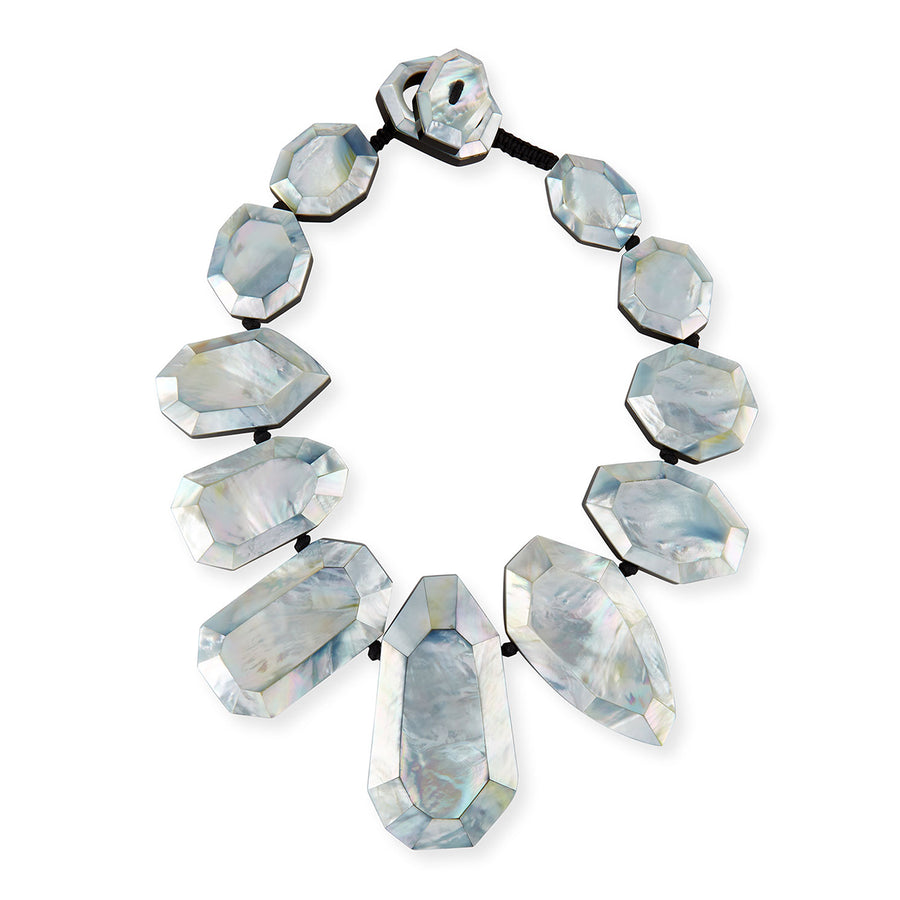 FACETED STATEMENT COLLAR SILVER MOP