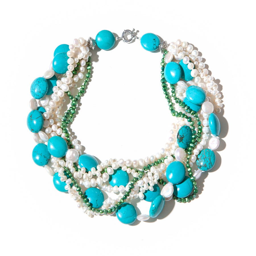 CULTURED FRESH WATER PEARL AND TURQUOISE TORSADE NECKLACE