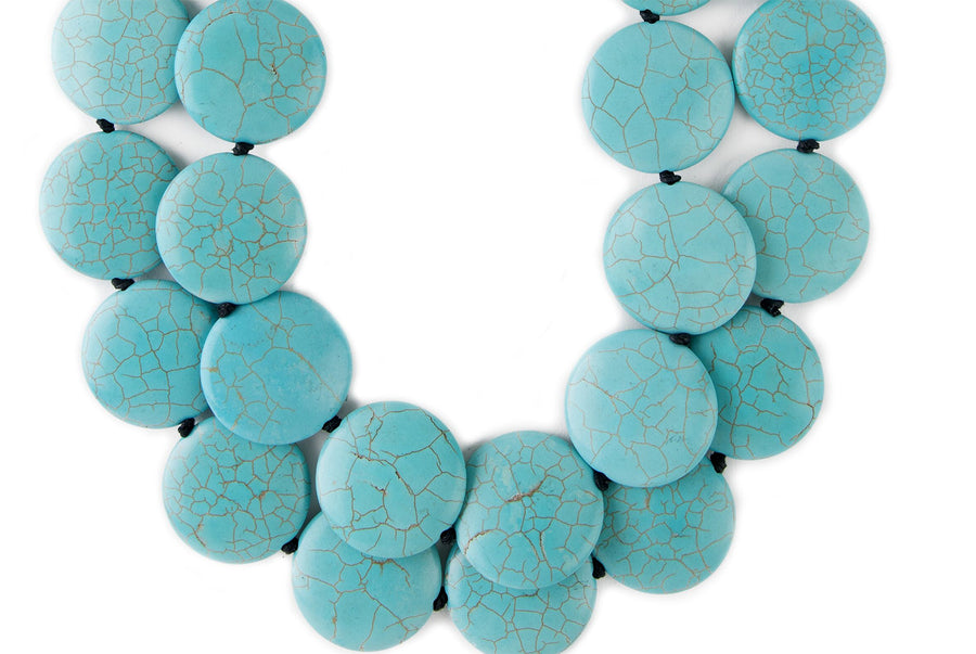 DOUBLE STRAND STABILIZED TURQUOISE DISC AND WOOD BAR NECKLACE
