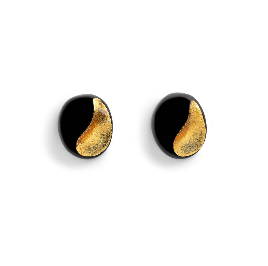 YIN AND YANG STUD EARRINGS BLACK/GOLD