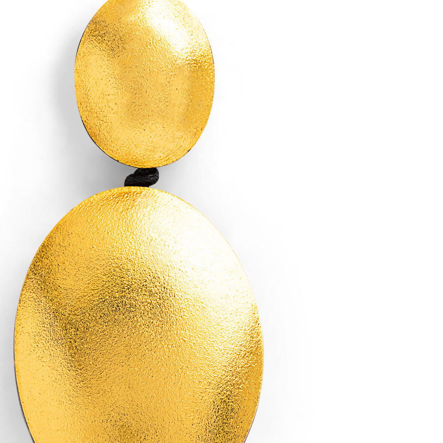 DOUBLE DROP EARRINGS GOLD FOIL