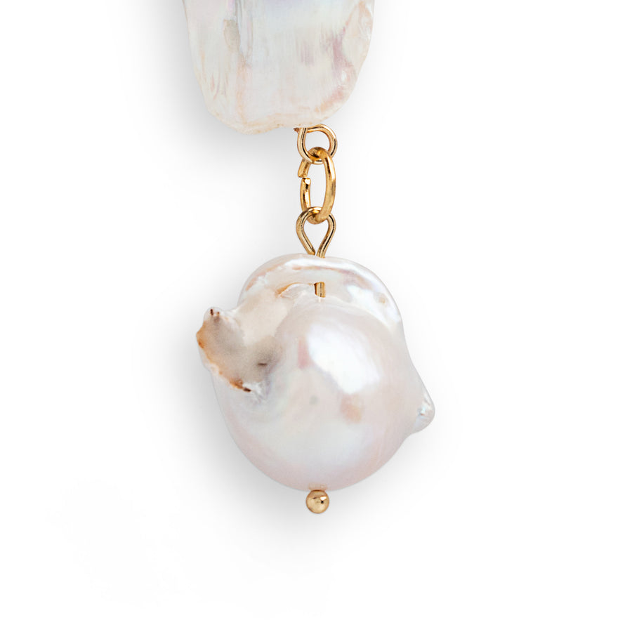 BAROQUE PEARL AND PEARL DANGLE EARRINGS