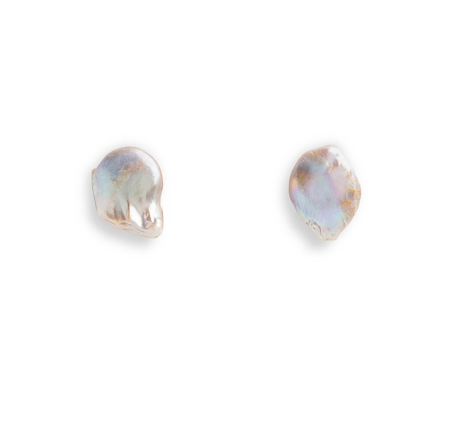 FREEFORM BAROQUE PEARL STUD EARRINGS