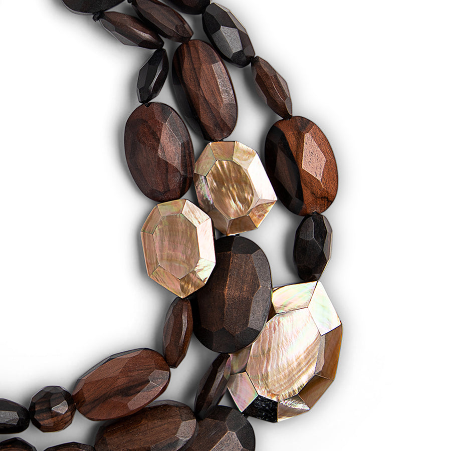 THREE STRAND FACETED WOOD AND MOP NECK WOOD/BLUSH