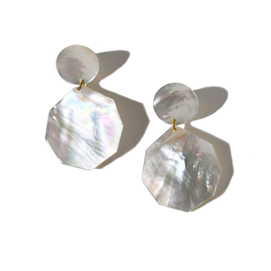 DOUBLE DROP MOTHER-OF-PEARL DANGLE EARRINGS. WHITE MOP