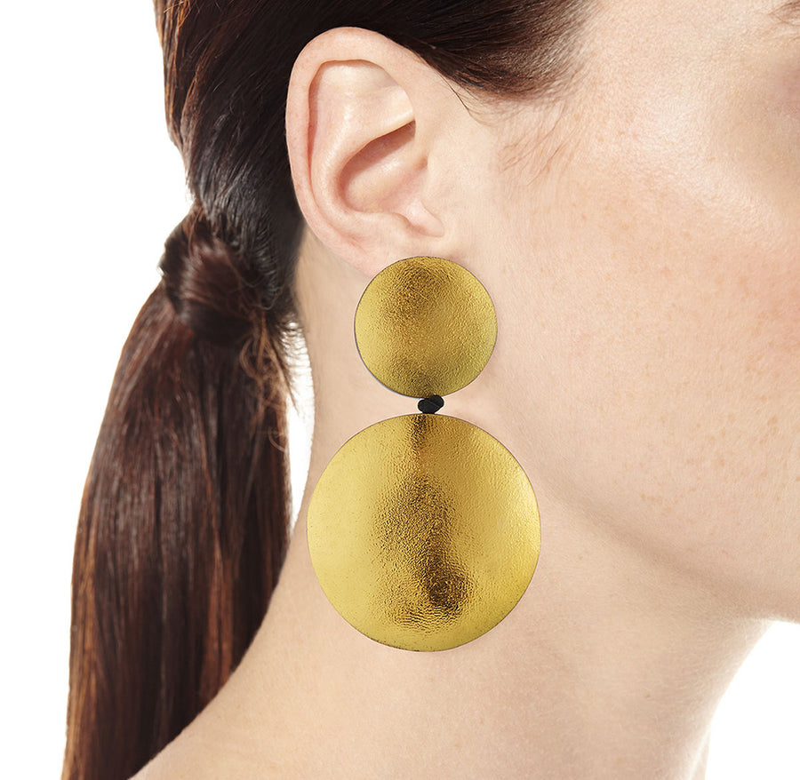 DOUBLE DROP DISC EARRINGS GOLD