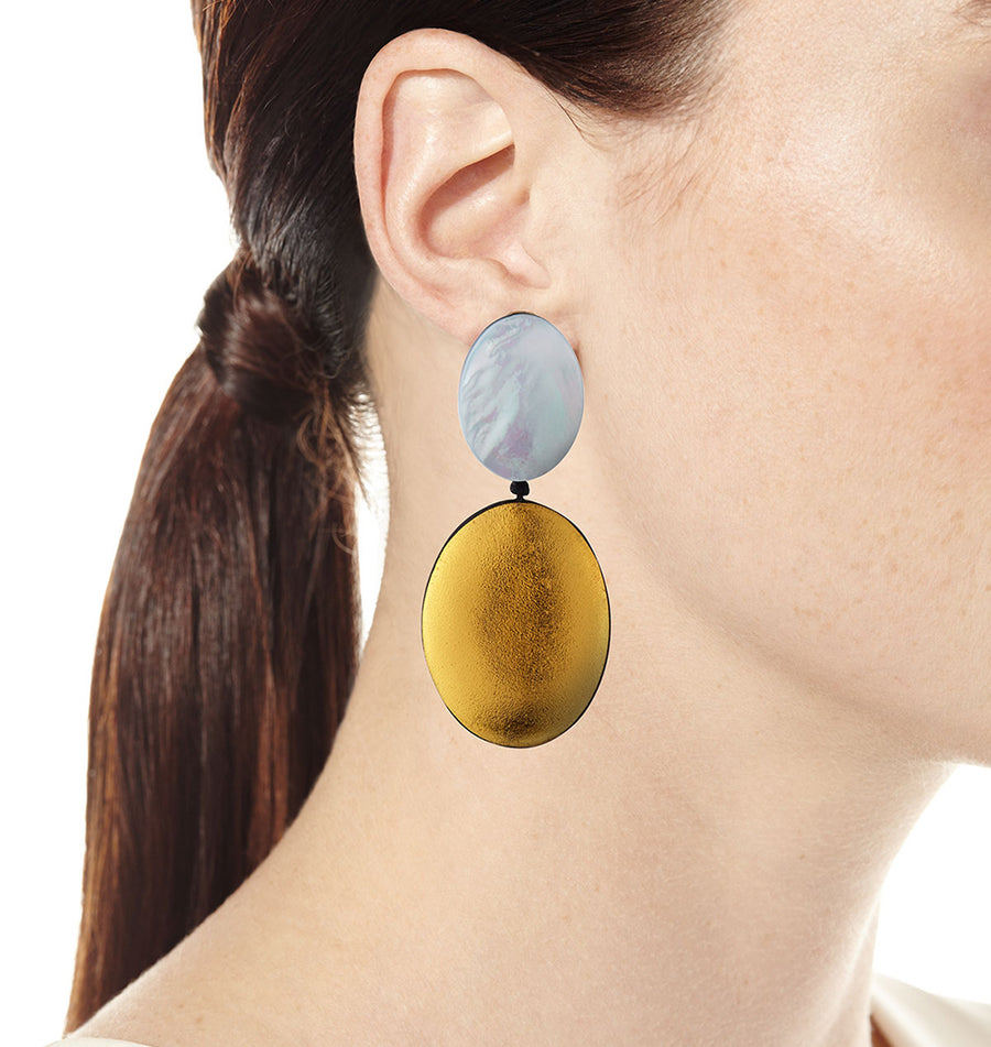 MEDIUM DOUBLE DROP OVAL RESIN EARRINGS