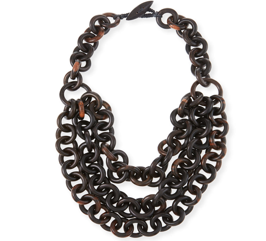 THREE STRAND WOOD LINK NECKLACE