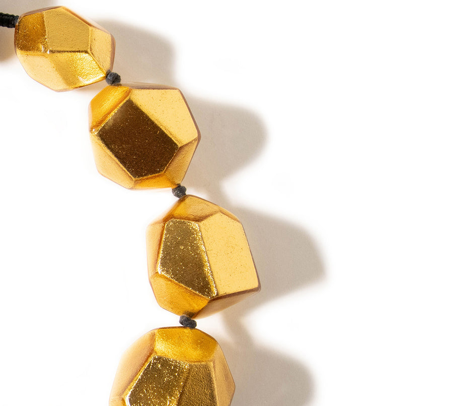 GOLD FOIL FACETED STATEMENT NECKLACE