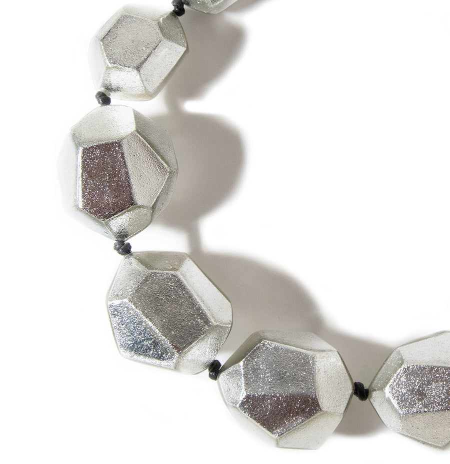 FACETED SILVER FOIL STATEMENT NECKLACE