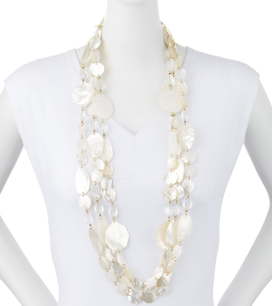 THREE STRAND WHITE MOTHER OF PEARL STATEMENT NECKLACE