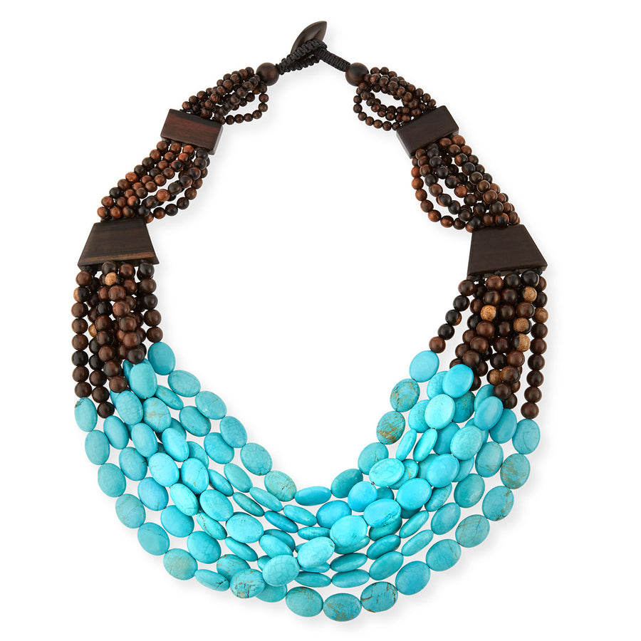 MULTISTRAND WOOD AND TURQUOISE BIB NECKLACE