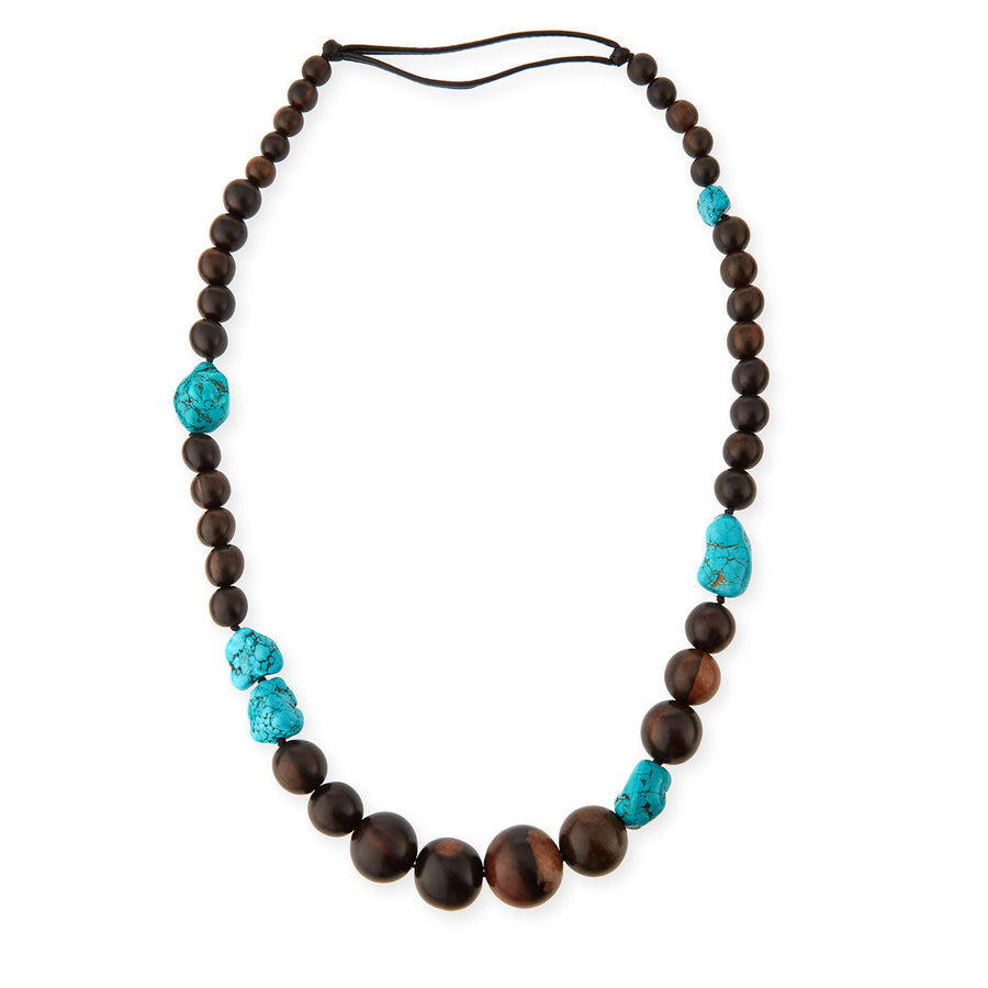 LONG WOOD BEADED NECKLACE WITH TURQUOISE ACCENTS