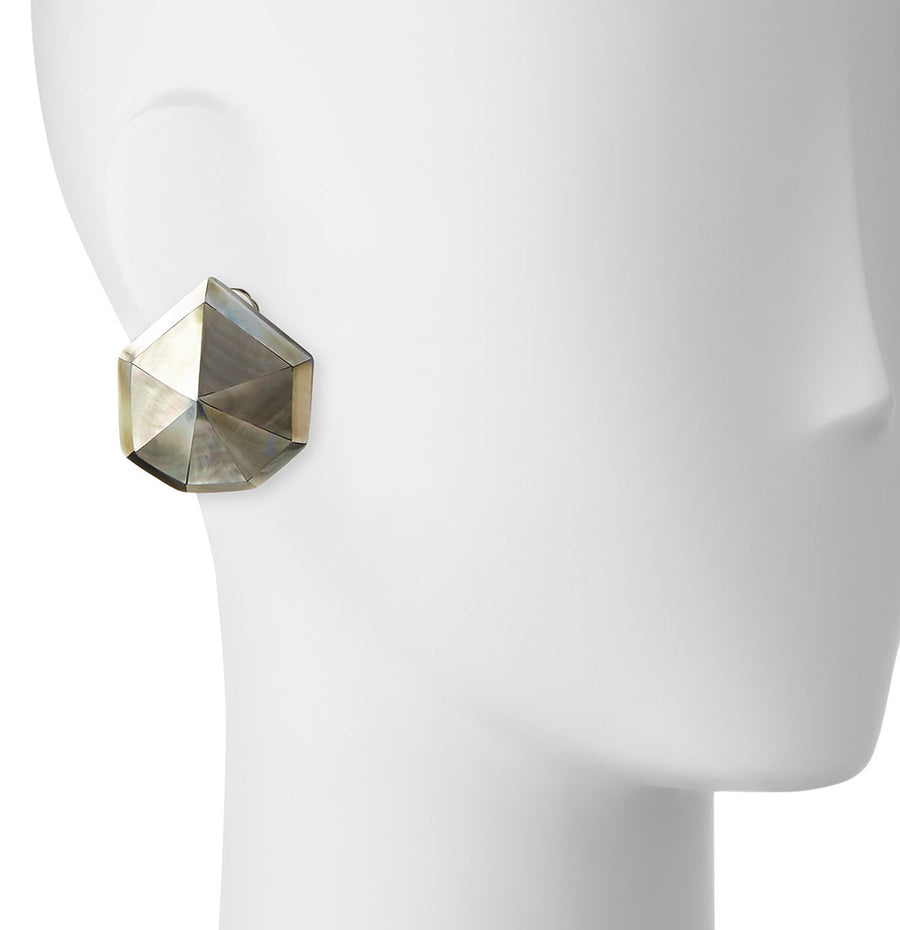STARDUST FACETED STUD EARRINGS SILVER MOP