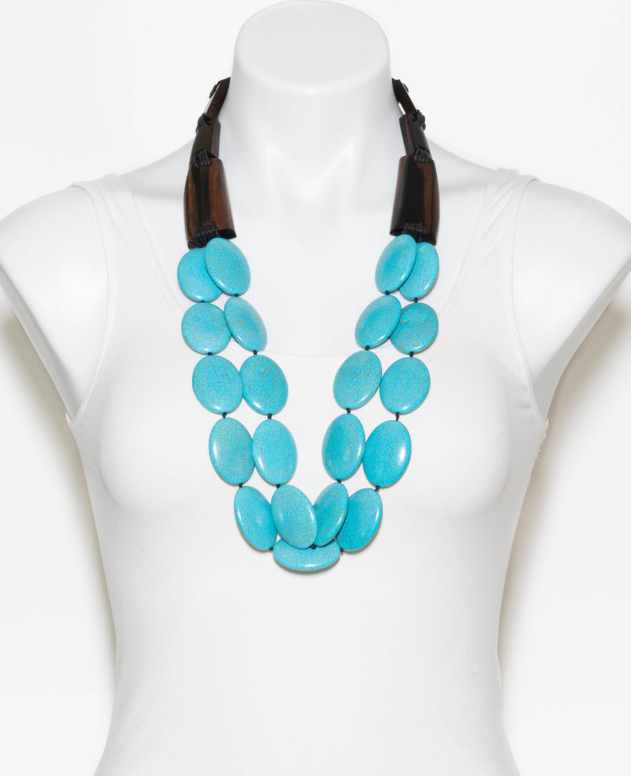 TURQUOISE AND WOOD BAR DRAPE NECKLACE