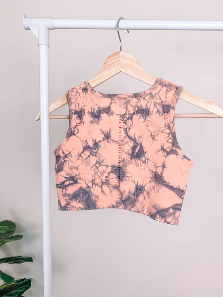 Peach Tie Dye Sports Bra