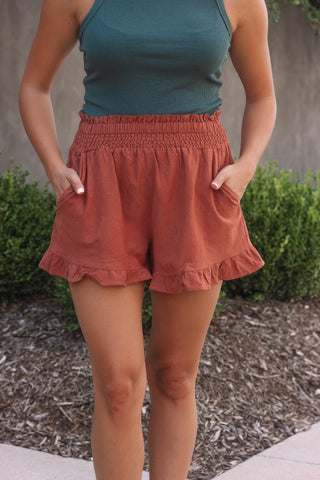 Brick Ruffled Shorts