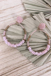Pink Beaded Hoop Earrings