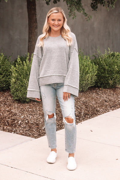 Heather Grey Wide Sleeve Sweater