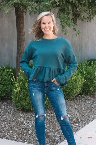 Cropped Peplum Sweatshirt / Deep Teal
