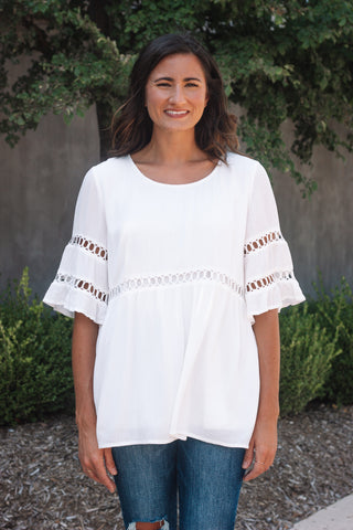 White Boho Swing Top